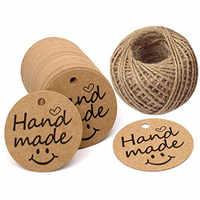 300 teile/los Kraft handgemachte Papier Geschenk Tags 1,2 zoll Danke Tags mit 100 Füße Schnur String für preis tags DIY Geschenk etiketten