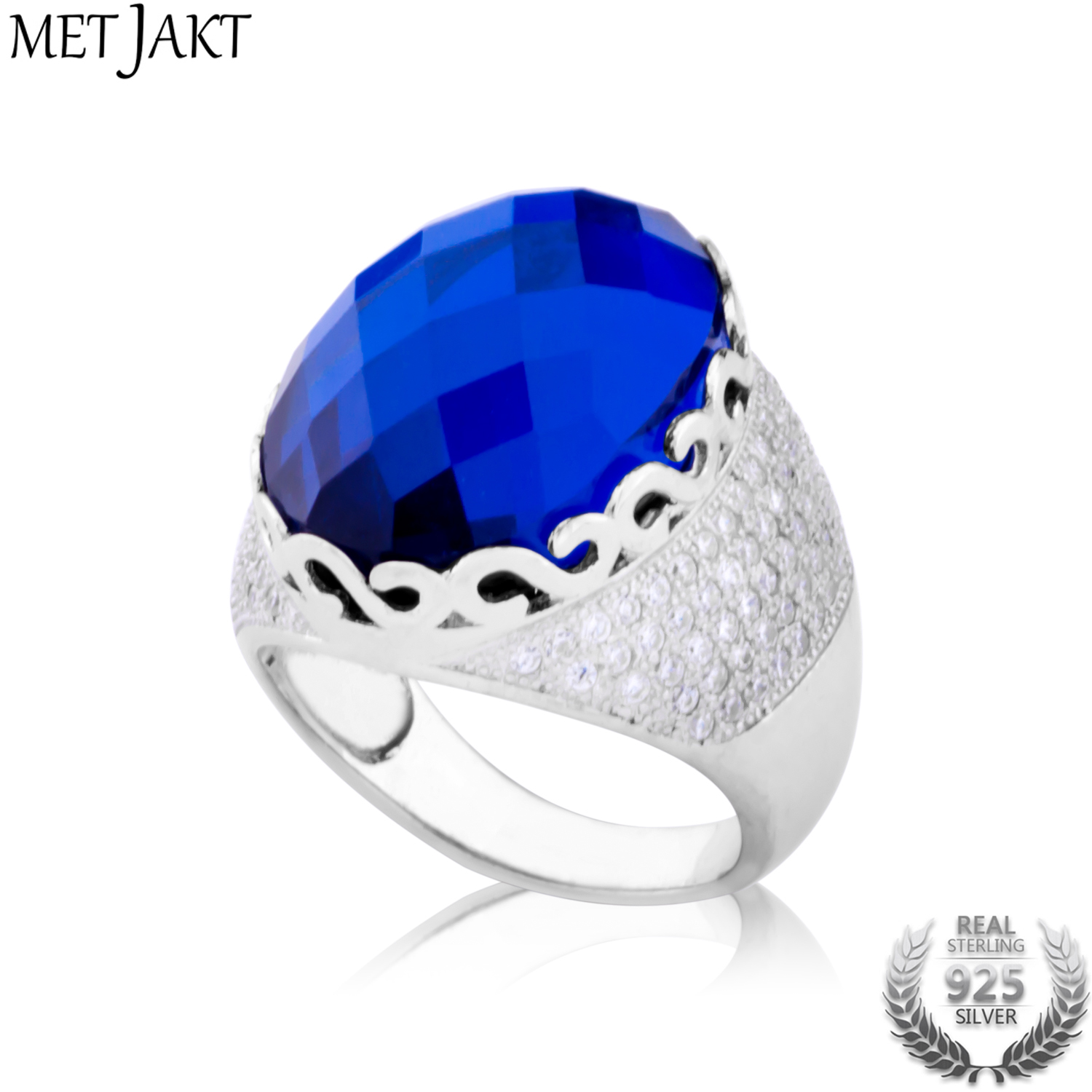 MetJakt Vintage Sapphire Ring for Women Handmade Checkerboard Cutting Sapphire Solid 925 Sterling Silver Jewelry delicate alloy faux sapphire geometric ring for women