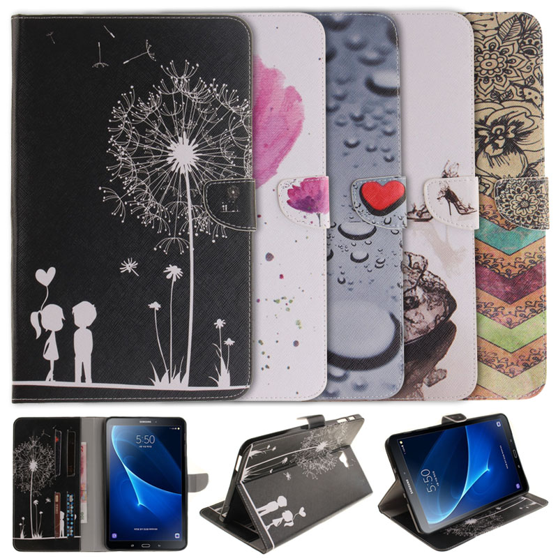 Colorful Painting Cover Leather Case For Samsung Galaxy Tab A 10.1 (2016) T580 <font><b>T585</b></font> Tablet Flip Book Style Stand function Cases image