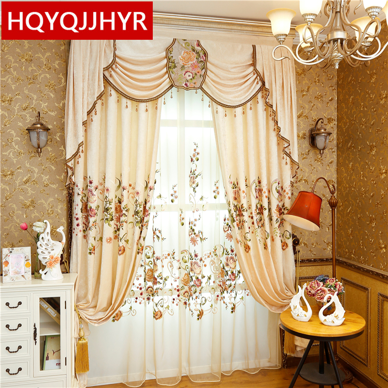 HOT Chinese Style Royal Luxury Embroidered Blackout Curtains For Living Room Embroidered Voile