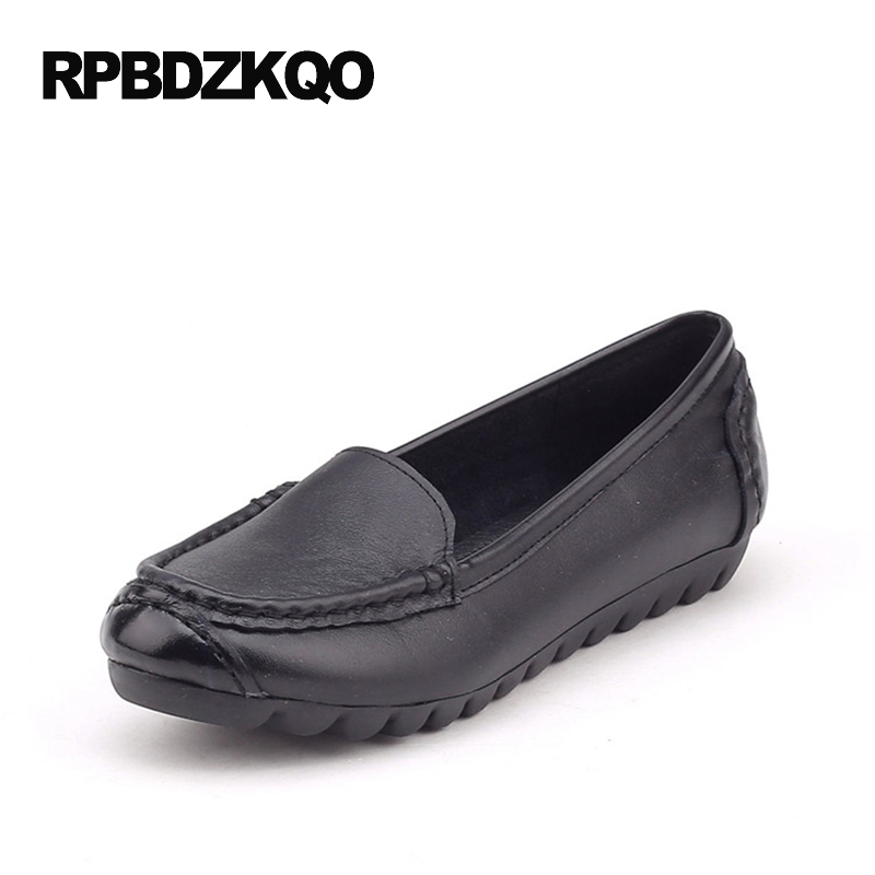 Ladies Elderly Rubber Sole Size 9 Soft Flats Women Round Toe 2017 Cheap Shoes China Black Moccasins Comfy Slip On Latest Spring
