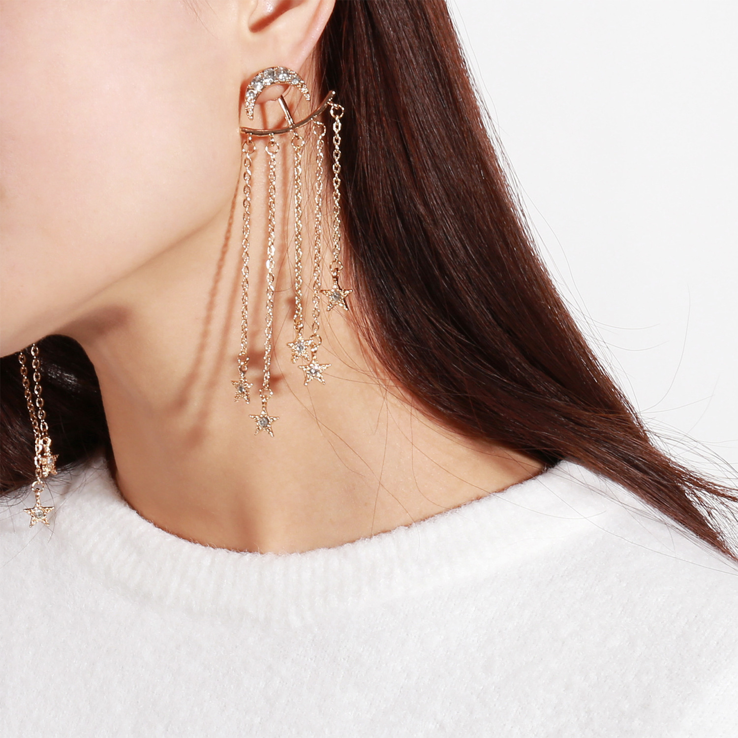 Fashionable business temperament Earrings Lunar Star and Shoot Dropping Ear Nail