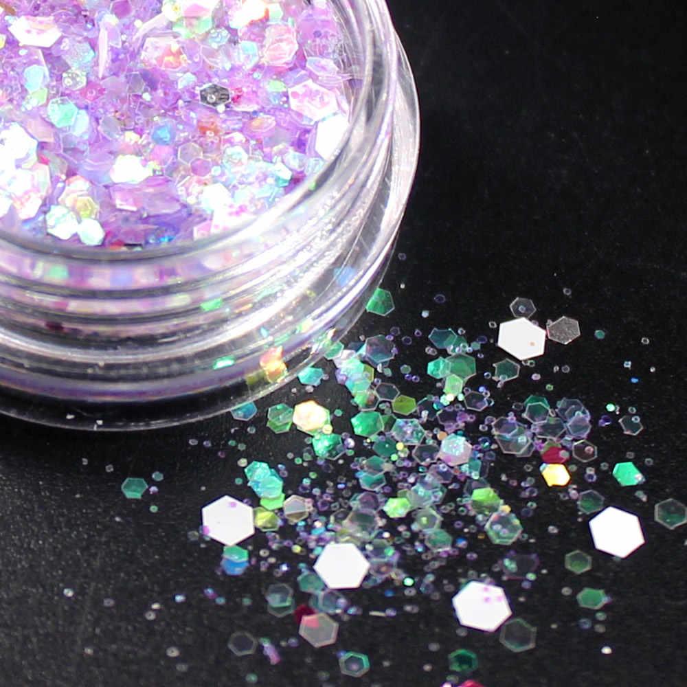 2018 Nieuwe Sneeuwvlok Glitter Nail Art Dust Tool Kit Acryl Gem Nagellak Gereedschap 3D Nail Art Decoraties Nail Glitter poeder