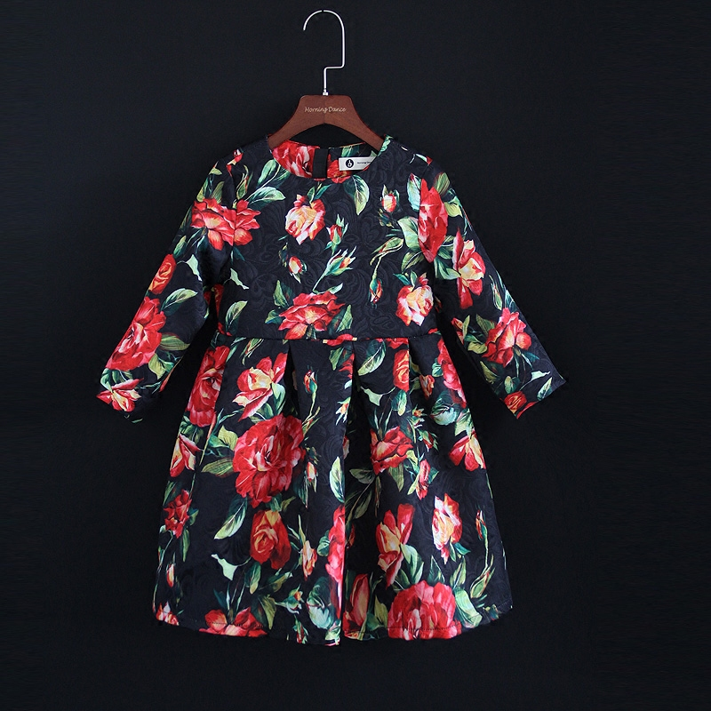 Autumn Winter jacquard flower Women fashion dress baby kids girls 1Y-16Y children cloth family look matching mom daughter dress autumn jacquard rose print women 3xl baby kids girls 1y 16y fashion dress matching mother and daughter dress family look clothes