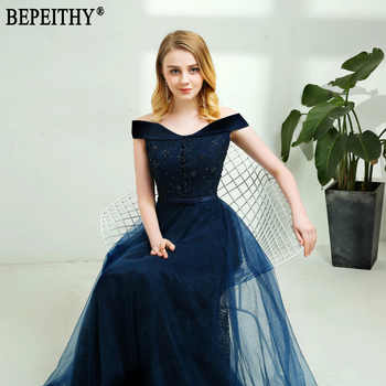 BEPEITHY 2019 New Design vestido de festa Appliques Beads Off-Shoulder Long Navy Blue Evening Dresses New Arrival