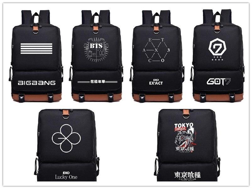 Kpop Bts Got7 Exo Twice Monsta x infinite Fashion nylon Schoolbag Backpack Satchel bag