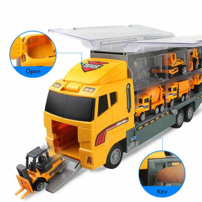 Truk Konstruksi Kendaraan Container Logistics Set Mainan Truk Excavator Truk Semen Dumper Bulldozer Forklift Rol Jalan untuk Anak-anak