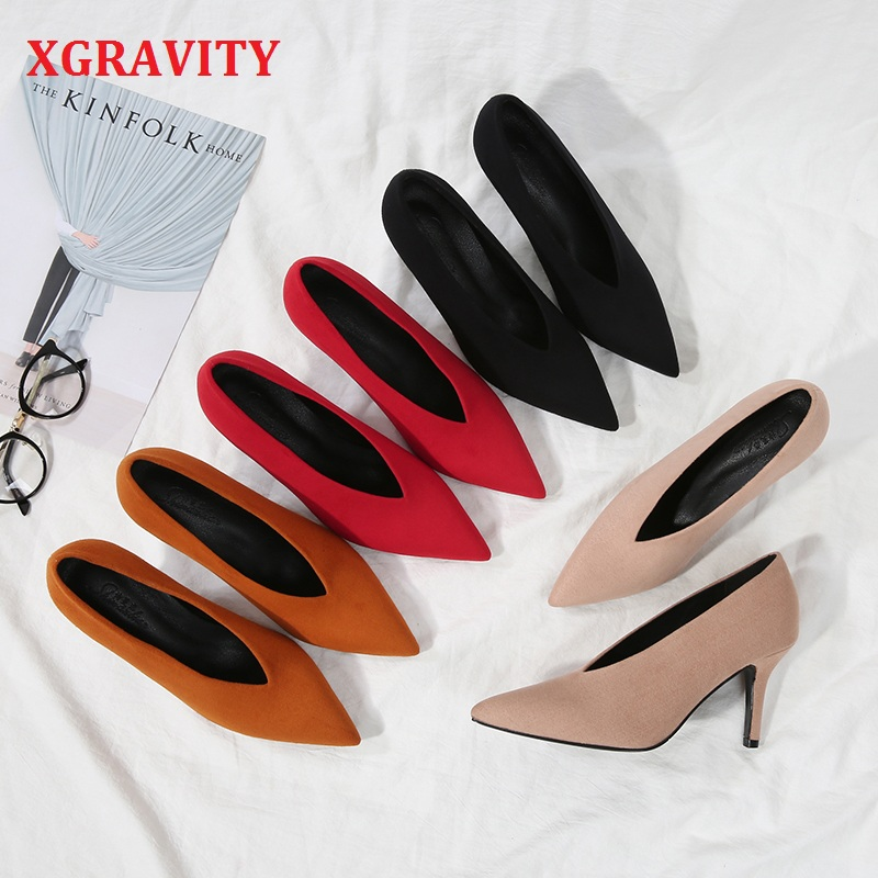 XGRAVITY European American Autumn Fashion High Heel Pumps Sexy Pointed Toe Women Shoes Kid Suede Female V Cut Ladies Shoes A025