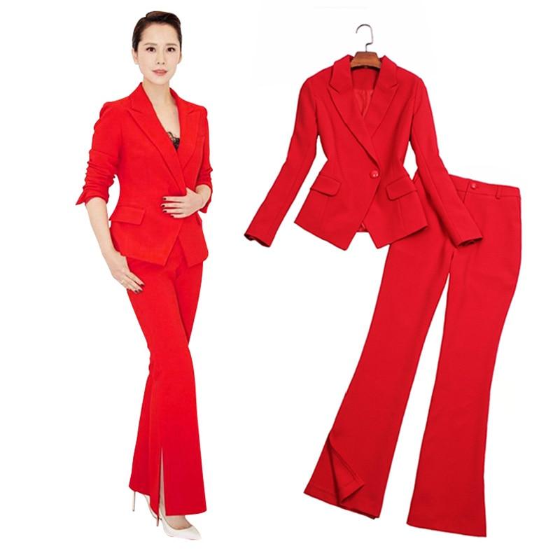 Pak pak vrouwelijke mode Slanke dames Xiaoxiangfeng split hoge kwaliteit bell broek professionele dragen twee stuk blazer set - 2