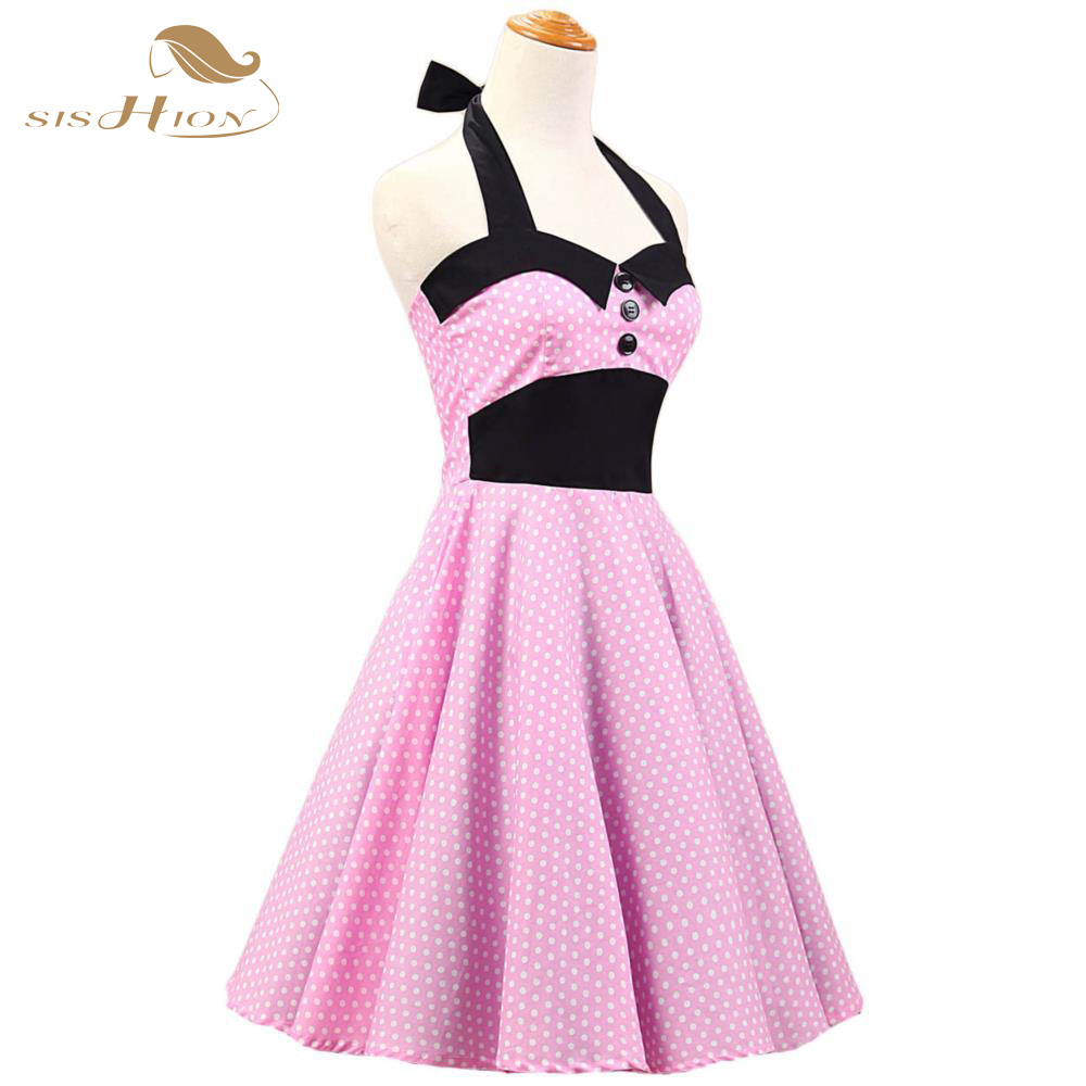 8a4ba947f6 Aliexpress.com   Buy SISHION Retro Vintage Dress 50s Rockabilly Swing Halter  Sleeveles Pink White Polka Dots Elegant Sexy Backless Party Dress VD0146  from ...