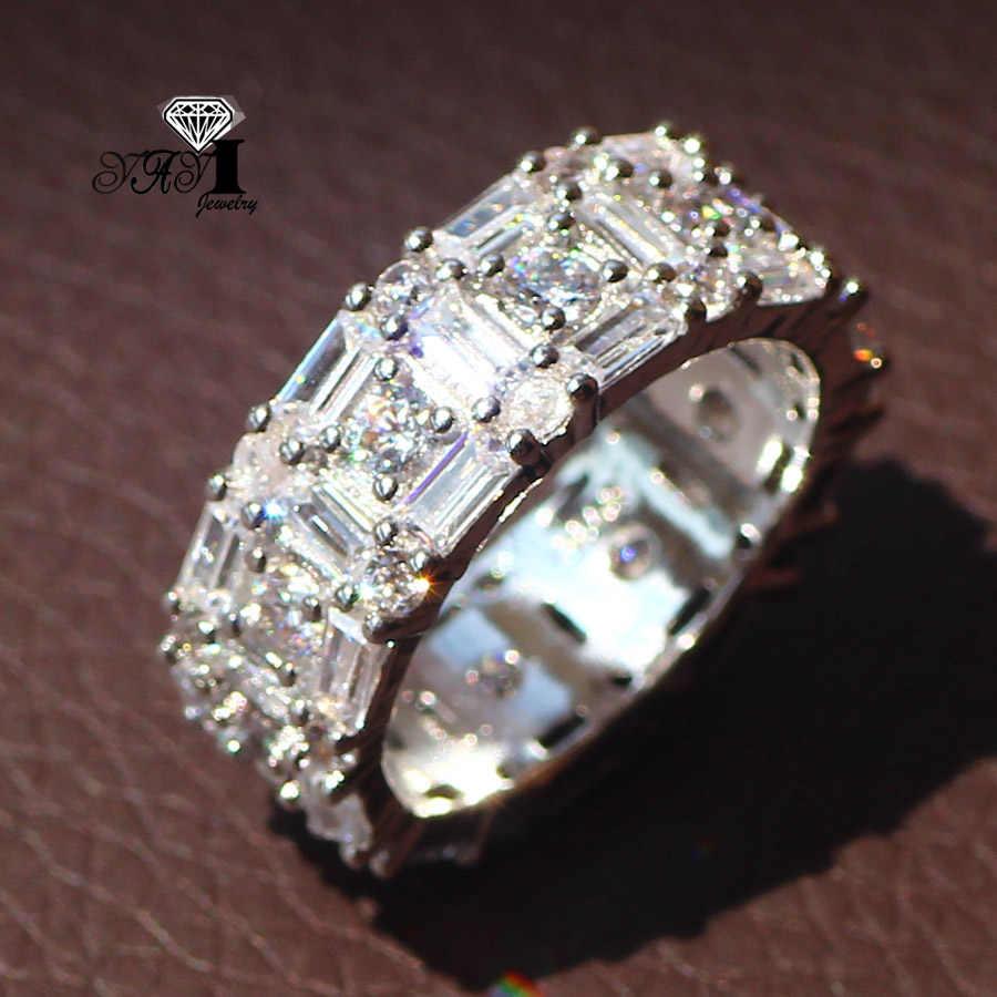 YaYI Perhiasan Mode Princess Cut 5.2CT Warna Putih Zircon Perak Engagement Rings wedding Rings Partai Rings