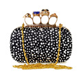 2016 New Women Crystal Evening Clutch Bag Luxury Skull Finger Ring Handbag Diamond Clutch Purse Small Chain Shoulder Bags JXY821