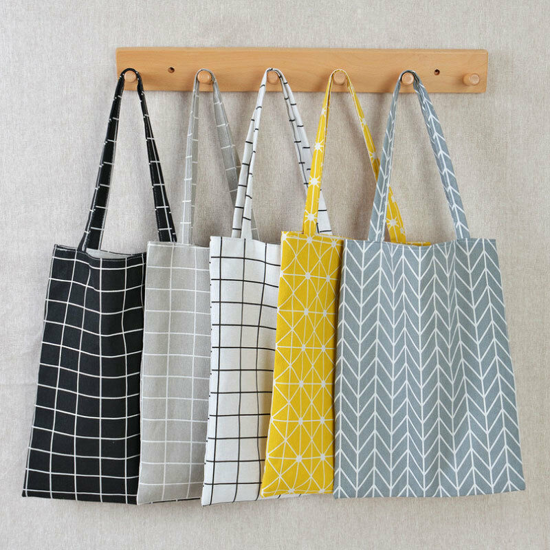 Women Casual Plaid  Linen Cotton Canvas Shopping Shoulder Bags Tote Bags Tote
