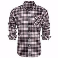 Coofandy Men Plaid Shirt Long Sleeve Casual Work Dress Shirt Men Retro Style US Size S