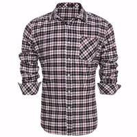 Coofandy Men Plaid Shirt Long Sleeve Casual Work Dress Shirt Men Retro Style US Size S