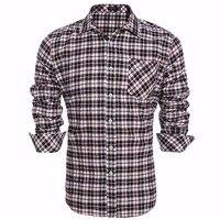 COOFANDY Mannen Plaid Shirt Lange Mouwen Casual Werk Jurk Shirt mannen retro stijl us maat s/m/l/xl/xxl blauw wit plaid met Packet