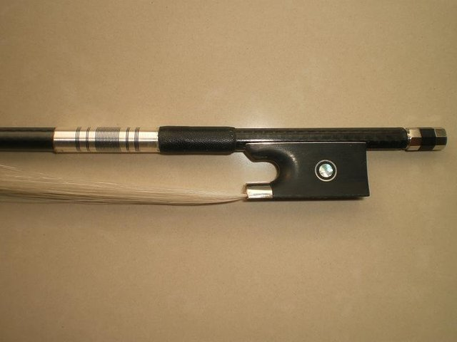 Viola bow with carbon fiber bow stick with gribs, ebony frog, silver mounted model of SCFT97