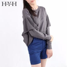 HYH HAOYIHUI 2017Autumn Solid Dark Grey Female Sweaters O-Neck Butterfly Sleeves Short Women Jumpers Casual Ruffle Knit