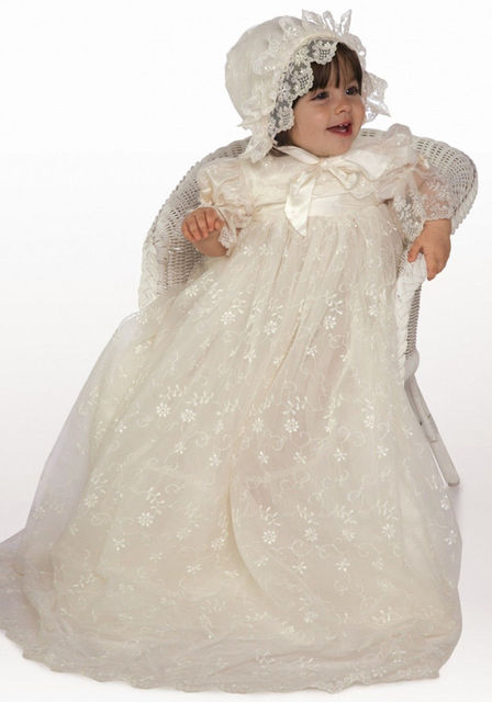 High Quality Custom Baby Girls Baptism Gown Christening Dress White/Ivory Infant Gown Lace Silk With Bonnet