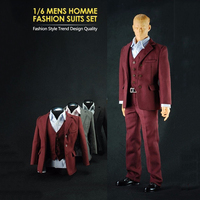 1 6 Man Homme Suits Male Clothing Fashion Trend Red Costume Suit Sets For 12 Action