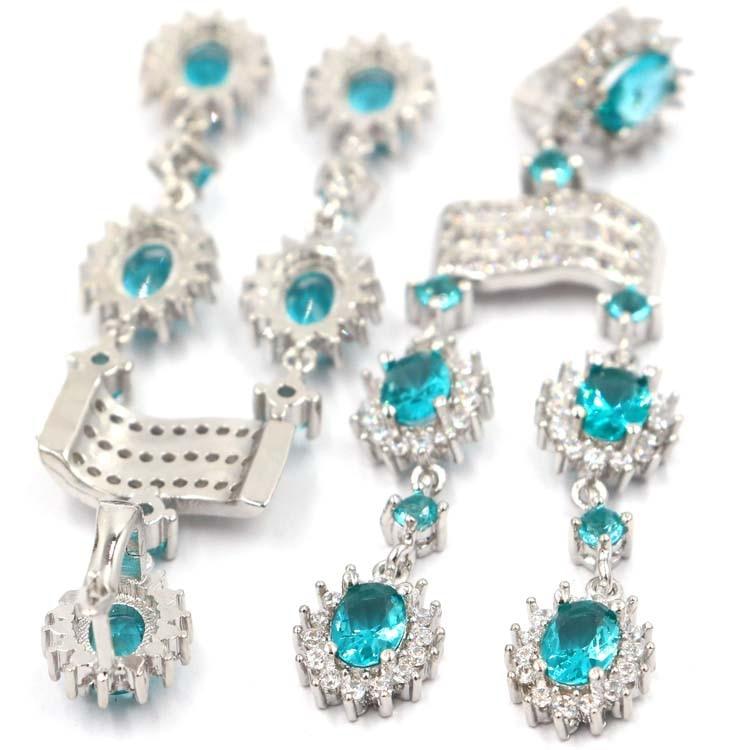 SheCrown Biru Kaya Panjang Aquamarine Putih CZ Wanita Hadir Anting - Perhiasan bagus - Foto 2