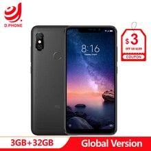 """스페인 1 5 일 글로벌 버전 xiaomi redmi note 6pro 6pro 3 gb 32 gb 6.26 """"전체 화면 4 카메라 snapdragon 636 smartphone"""