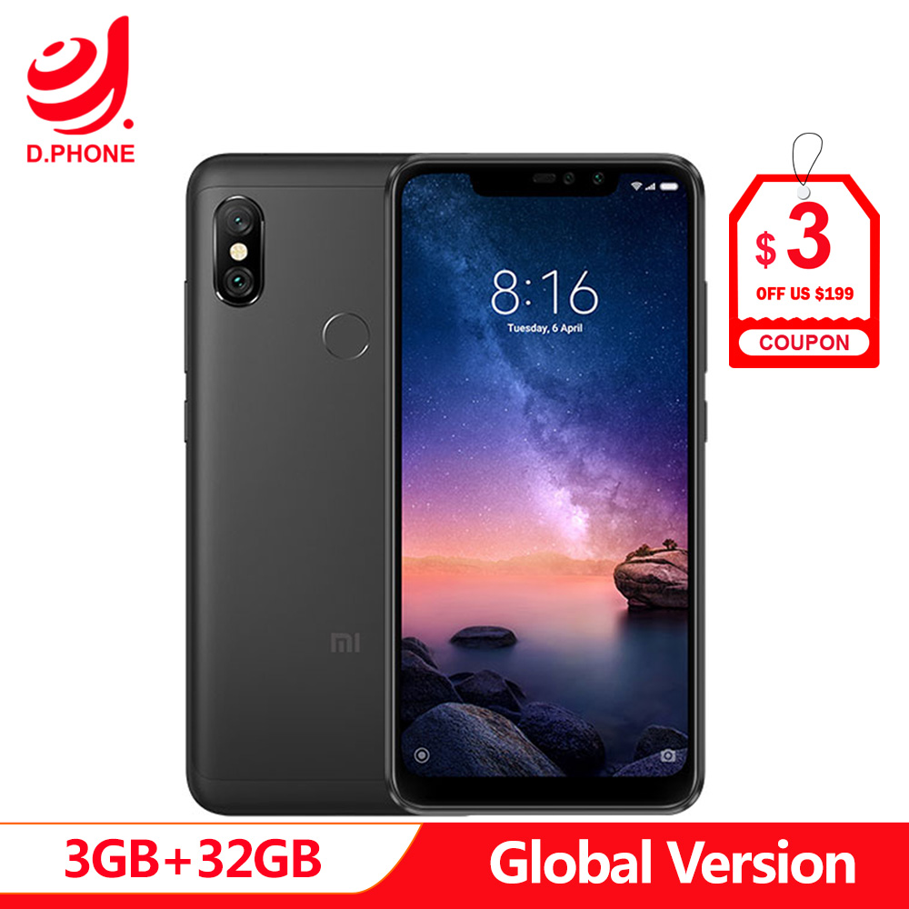 "Spain 1 5 Work Days Global Version Xiaomi Redmi Note 6 Pro 6pro 3GB 32GB 6.26"" Full Screen 4 Cameras Snapdragon 636 Smartphone-in Cellphones from Cellphones & Telecommunications"