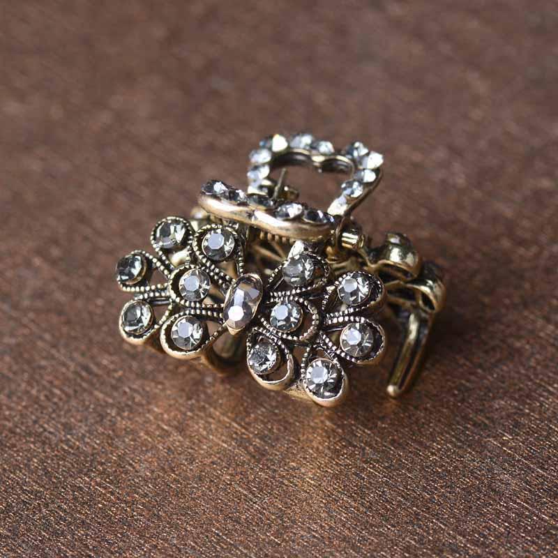 Fashion Mini Hair Claw Clip For Women Rhinestone Hair Jewelry Retro 4 Colors Crystal Hair Accessories
