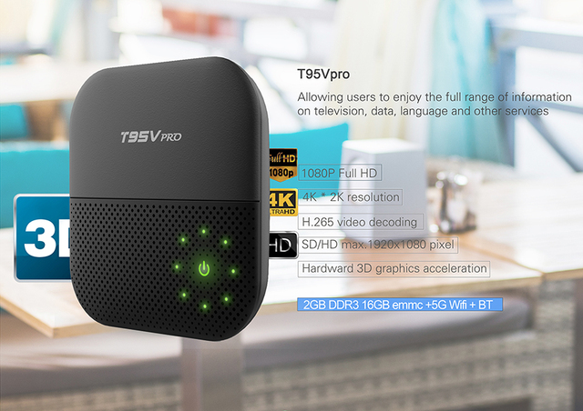 T95V PRO Android 6.0 TV Box 2 GB RAM 16 GB Amlogic Octa S912-Core dupla WiFi 2.4G/5G Bluetooth T95VPRO KODI H.265 4 K 16.1 Caixas de TV