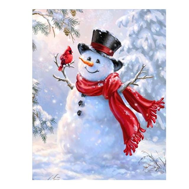 Diamonds Embroidery Christmas Snowman Bird Diy Diamond