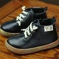 Invierno Caliente de la Felpa Interior antideslizante Niños Botas Muchachas de Los Muchachos Embroma Los Zapatos Zapatillas de deporte de Moda de Cuero Genuino de la Nieve Botas Pisos zapatos