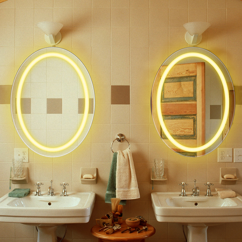 Oval bathroom LED lamp mirror wall hanging bathroom with light makeup mirror modern Touch switch bath mirror mx12151130 2