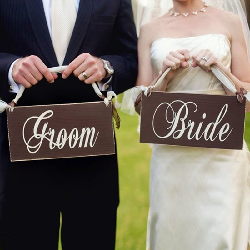 BHomify 2pcs/lot Wooden Bride Groom Wedding Photo Props Hanging Board Wedding Party Chair Decoration Wedding Signs JMHLGP3