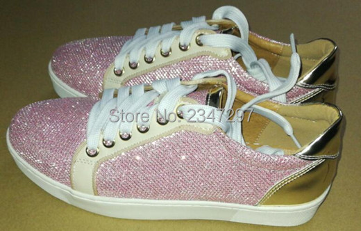 ФОТО Real Pics 2017 New Style Bling Bling Pink Sequined Shoes Women Lace up Flat Fashion Women Casual Shoes High Quality