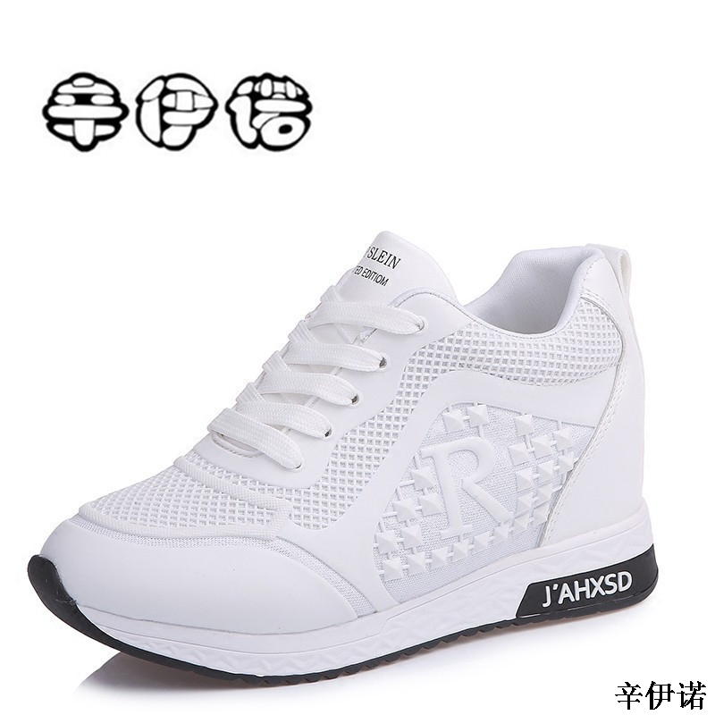 Fashion new brand Spring Summer Women's High Platform Shoes Height increasing leathe Shoes Thick Sole Trainers Lady Shoes white