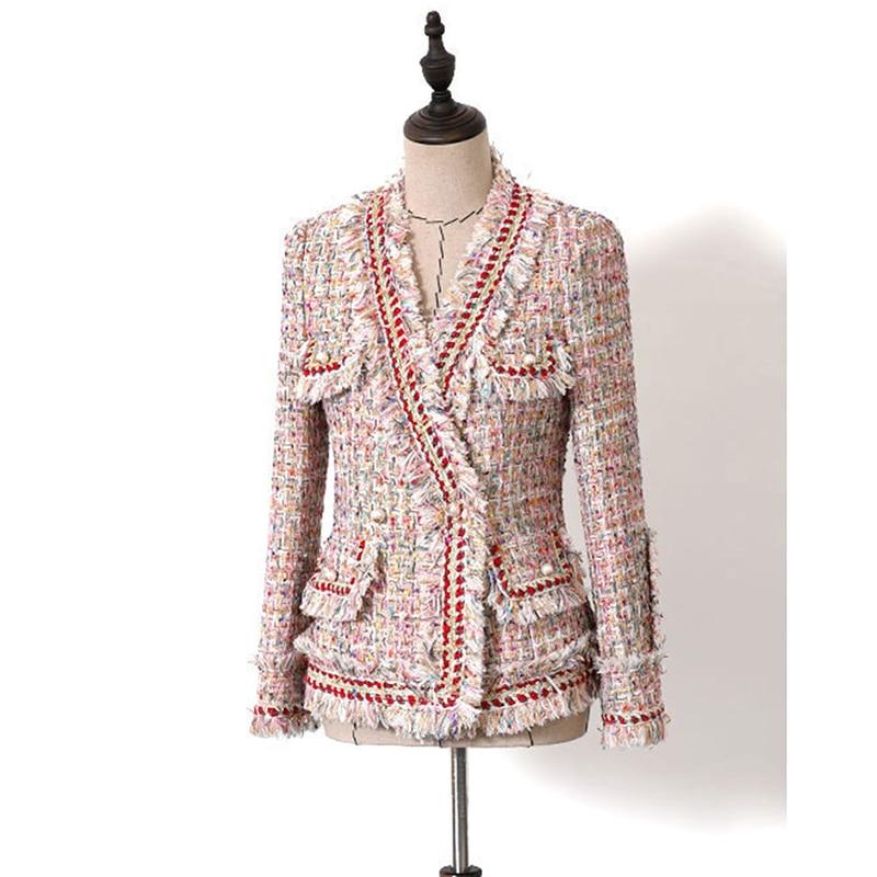 EXCELLENT QUALITY Baroque Designer Blazer For Women Ladies Slim Fitting Colors Wool Tweed Tassel Jacket