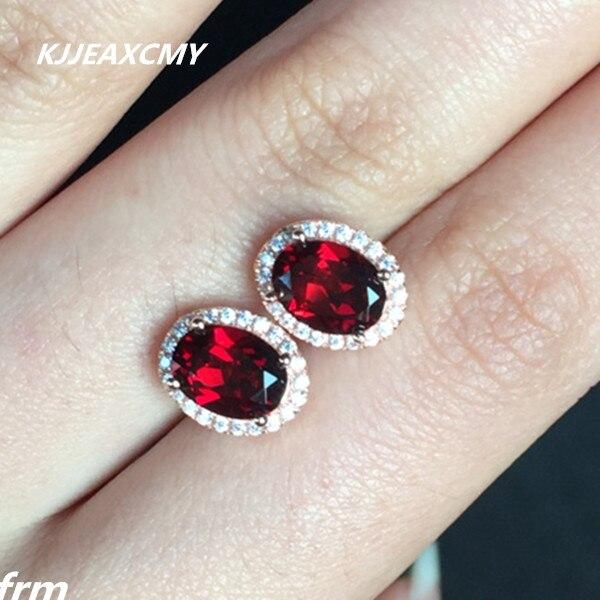 KJJEAXCMY Fine Jewelery Peripheral Drill Earrings Classic Crafts Good Colors Natural Garnet Stud Earrings 925 Sterling Silver