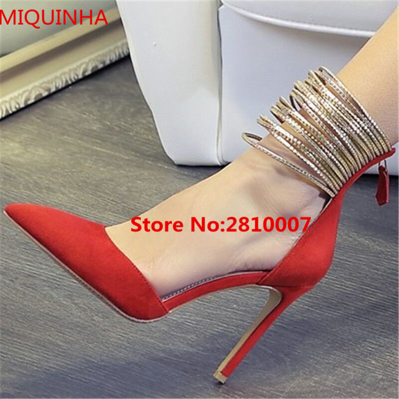 Classics Lady Shoes Red Suede Leather Ankle Gold Ring Strappy Women Pumps Pointed Toe Shallow Zip Back Party Wedding Shoes Woman