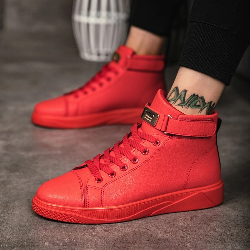 Black Red Men Lace Up Ankle Boots Flats Shoes High Top Leather Casual