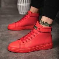 Black Red Men Lace Up Ankle Boots Flats Shoes High Top Leather Casual Shoes Men's Vulcanize senakers Walking Shoes