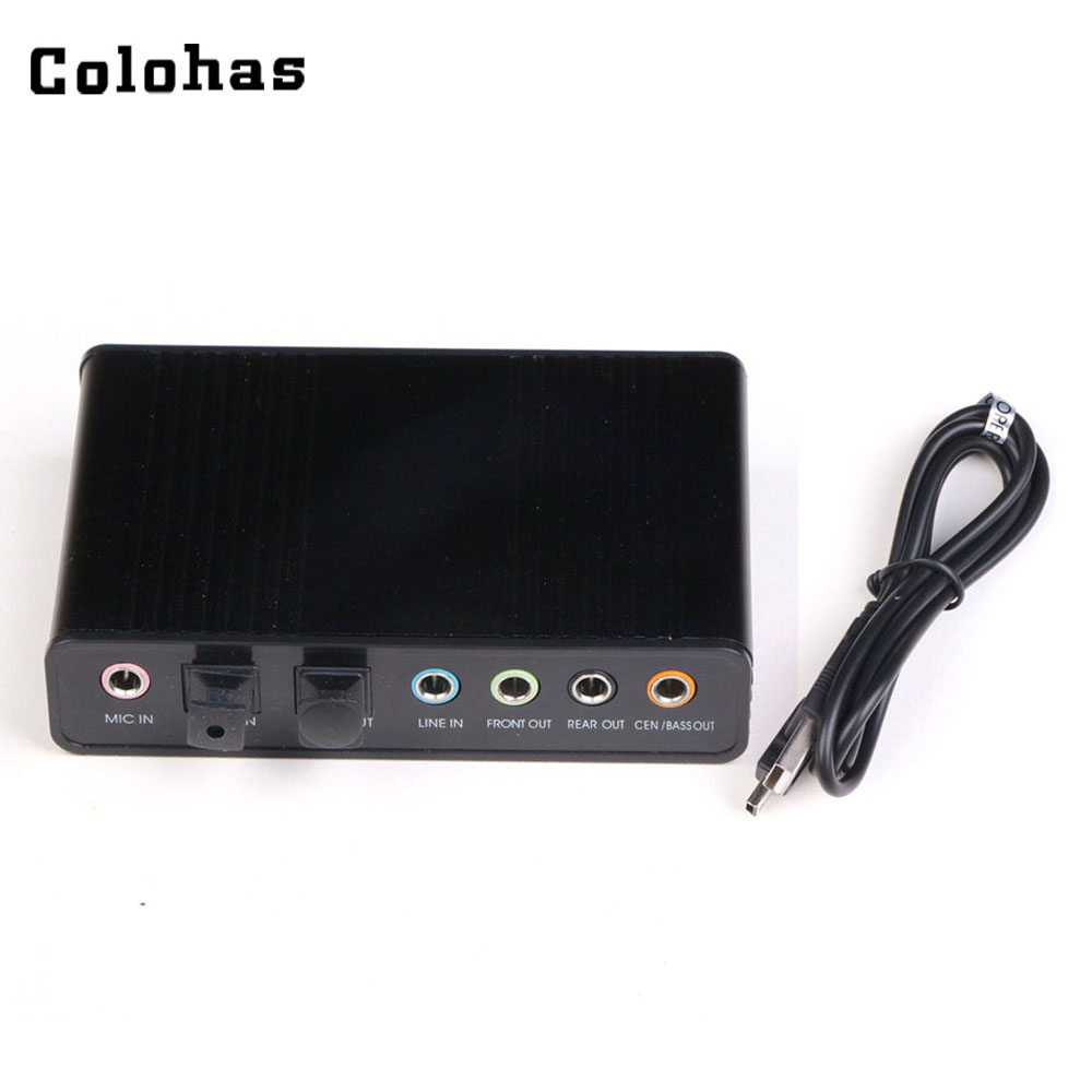 Colohas Black 5.1 Channel USB External Sound Card S/PDIF Fiber Audio Adapter for Mix K-song Desktop Laptop Chatting Gaming
