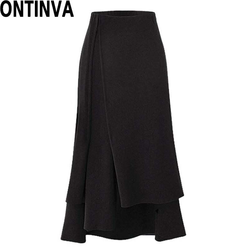 2018 Asymmetrical Midi Skirt Woman Long Split Skirts Womens Black 5XL Plus  Size Skirt for Office Lady Fashion Formal Bottoms 44984387cbe9
