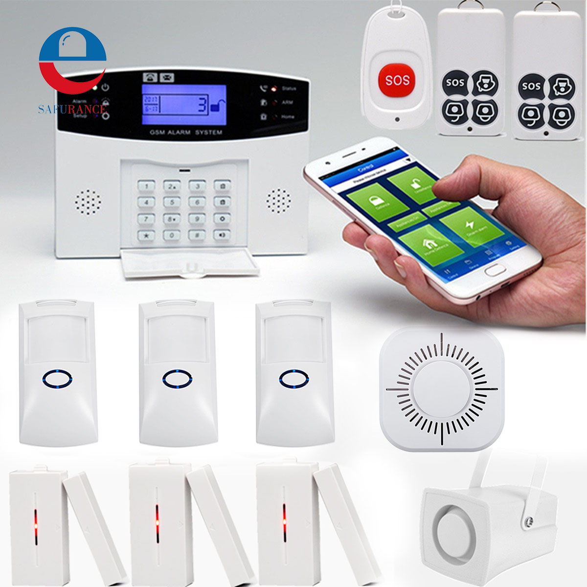 Wireless GSM Alarm System Intelligent APP Control LCD GSM SMS Burglar Alarm System Kit Auto Dialer Home Security Protection Safe yobangsecurity wireless gsm wifi home security burglar alarm system kit auto dialing dialer android ios app wireless siren