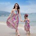 2017 летом пляж платье соответствия мать дочь платья одежда с длинным макси старинные платья vestidos мама и дочь платье