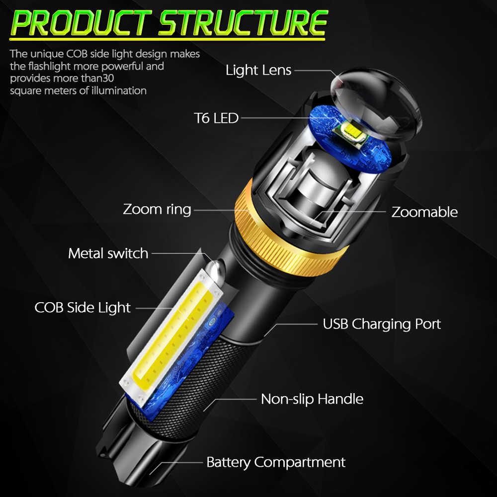 4200LM LED el feneri su geçirmez COB lamba USB şarj edilebilir işık süper parlak 5 modları 18650 pil Powered by kamp için