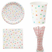 1Set Rainbow Geometry Paper Cups Plates Napkins Disposable Party Tableware Colorful Birthday Party Decor Kids bachelorette Party