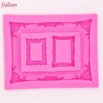 Jialian miroir cadre photo modélisation 3D silicone moule gâteau décoration moule fondant moule FT-0950