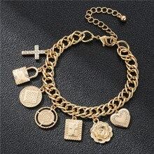 купить Luxurious CZ Pendant Link Chain Bracelet Gold Color Coin Heart Flowers Lock Cross Charm Bracelets for Women Fashion Jewelry дешево
