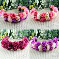 Rose Flower Crown Headbands for Women Wedding Festival Double Row Floral Garland Hairbands Free Shipping PY L4
