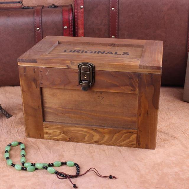 Treasure Chest Wooden Lockable Storage Box Cosmetic Secret Safe Storage  Storage Box Versatile Storage Containers Free